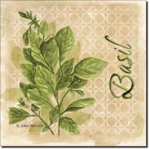 Basil by Sara Mullen - Herb Art Ceramic Accent Tile 8