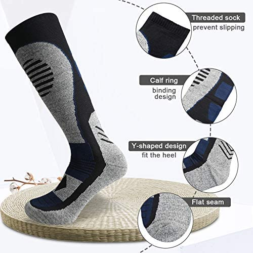 Zacro Ski Socks - Thicken and Lengthen Outdoor Skiing Socks, Snowboard Socks for Skiing or Snowboarding, Size: US 5-7