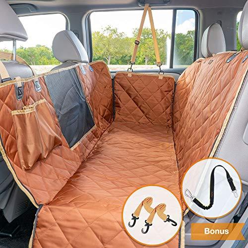 iBuddy Dog Car Seat Covers for Back Seat Cars/Trucks/SUV, Waterproof Dog Car Hammock Mesh Window Side Flaps, Durable Anti-Scratch Machine Washable Pet Car Seat Cover (56