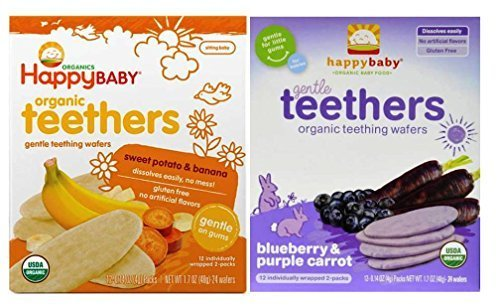 Happy Baby Organic Teethers Gentle Teething Wafers 2 Flavor Sampler Bundle: (1) Sweet Potato & Banana Teething Wafers, and (1) Blueberry & Purple Carrot Teething Wafers, 1.7 Oz. Ea.