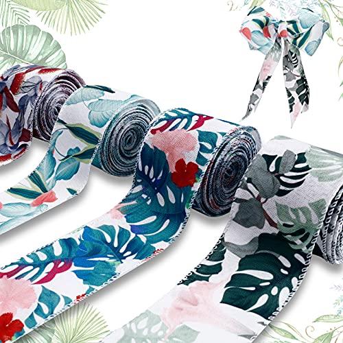 JOLYMAKER Satinband 4 Rollen Blumen und Pflanzen Serie verdrahtete Kante Band Blumen und Pflanzen Elemente Handwerk, 2,5 Zoll x 6,6 Meter