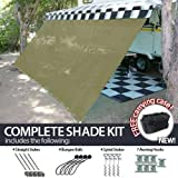 10' x 12' RV Awning Shade (Biege / Tan) Complete Kit with Carry Bag Canopy Shelter Screen Panel and Awning Maintenance Manual Motor Home Trailer Awning Shade