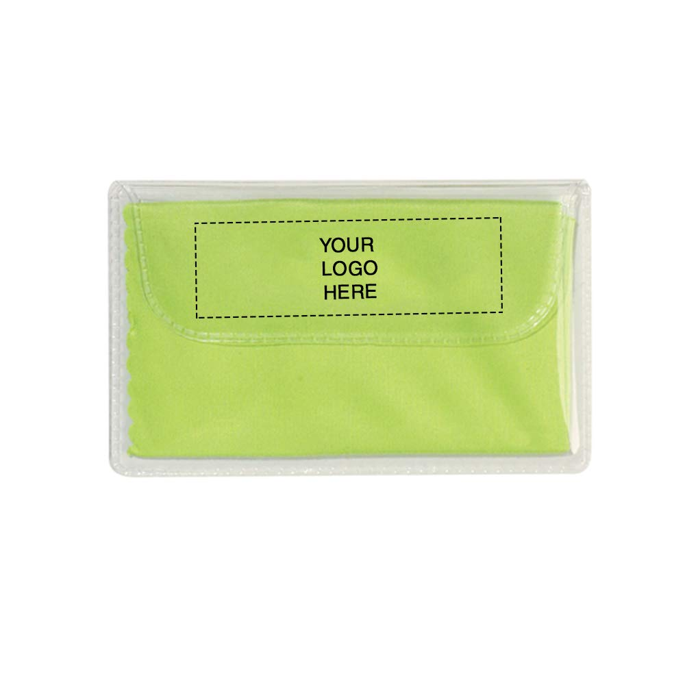 Microfiber Cleaning Cloth in Case | 250 Qty | 0.96 Each | Customization Product Imprinted & Personalized Bulk with Your Custom Logo Lime Green by Promo Direct