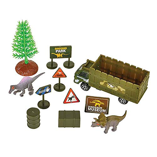 11-Piece Dinosaur Playset- Explorer Theme Dino Park Miniatures- Realistic Plastic Figures for Play Pretend- Assembly Toys for Kids- Great, Birthday Gift and Party Souvenir