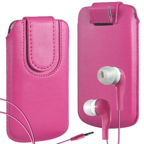 N4U Online - Apple iPhone 3G haut de gamme en cuir PU Tirez cas de secousse Tab Housse Etui avec sangle fermeture magnétique et correspondants intra-auriculaire - Rose