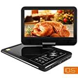 "Electronics : APEMAN 10.5"" Portable DVD Player with Swivel Screen Support SD card USB CD DVD AV Input/Output Earphone Speaker Port 5 Hours Built-in Rechargeable Battery Remote Control for TV Car Kids Gift"