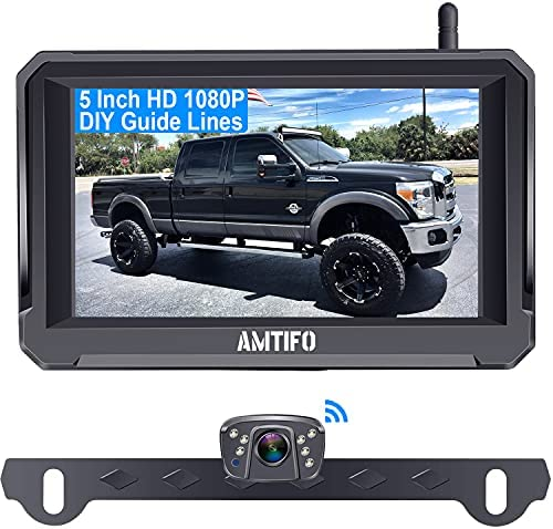 AMTIFO A6 HD 1080P Digital Wireless Backup Camera Kit with Stable Signal,5 Inch Split/Full Screen Rear View System for Trucks,Cars,Campers,Vans