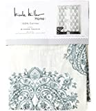 Nicole Miller Marchesa Paisley Medallion Pair of Curtains in Grey Greenish Gray Ivory Colors Medallion Print China Paisley 52-by-96-inch 100% Cotton Set of 2 Window Panels Drapes (Teal)