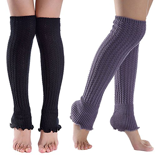 UPC 761780934434, Women Leg Warmers Soft Knitted Crochet Long Socks Boot Cuffs For Ladies Girls By 2 Pairs (Black+Deep Grey)