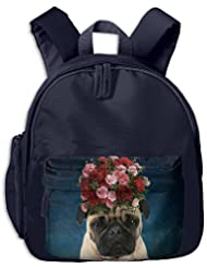 Casual Lightweight Canvas Backpacks Pug Puppy Pet Roses Bookbag Shoulder Bag School Backpack For Kids