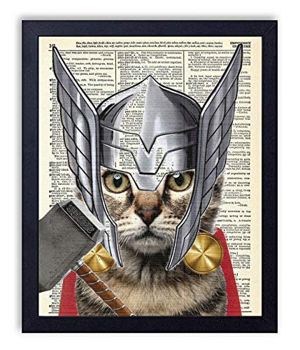 Thor Cat Super Hero Vintage Upcycled Dictionary Art Print 8x10 inches, -