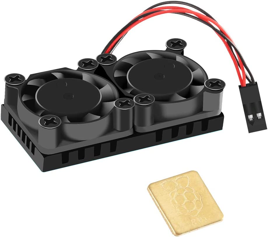Dorhea Raspberry Pi Dual Fan Cooling Fan Kit + 1 Pcs Heatsinks Cooler with Thermal Conductive Adhesive Tape for Raspberry Pi 3 B, Raspberry Pi 2 Model B, Raspberry Pi B+ (not 3B+)
