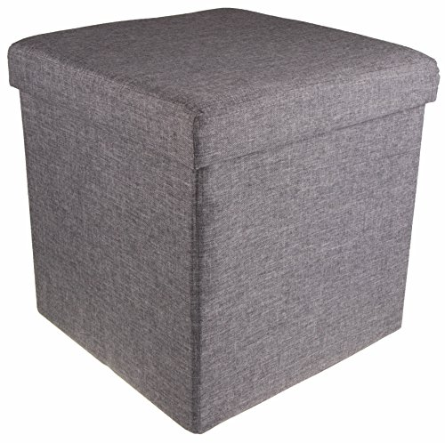 Gray PVC Collapsible Storage Ottoman Foot Rest