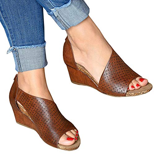 Sovelen Women's Wedge Sandals Summer Casual Cut Out Slip On Comfortable Breathe Shoes Brown