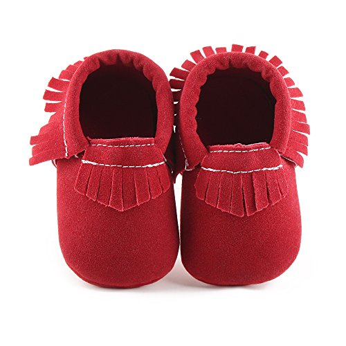 Delebao Unisex Baby Soft Sole Tassels Crib Shoes Moccasins Loafers (0-6 Months, Red)