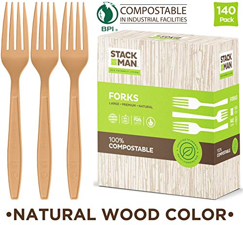 Disposable Forks 140 Pack 100% Compostable Plastic Silverware, Large Premium Heavy Duty Flatware Utensils, Eco Friendly Certified 100% Biodegradable Natural Wood Color Tableware ()