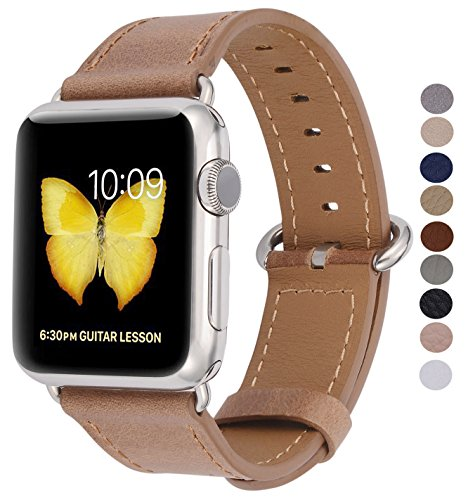 PEAK ZHANG Compatible Iwatch Band 38mm 40mm s/m Women Genuine Leather Replacement Strap Compatible iWatch Series 4 (40mm)/Series 3 2 1 (38mm) Sport Edition, Caramel with Stainless Steel Clasp