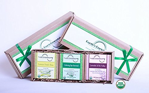 Aloe Vera Hydrating Gift Set - Bar Soaps (USDA Organic) Moisturizing and Hydrating Soap Gift Set (Lemongrass, Rosemary Mint, Lavender) with Coconut Oil and Aloe Vera