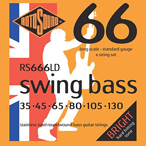 Rotosound RS666LD Swing Bass 66 Stainless Steel 6 String Bass Guitar Strings (35 45 65 80 105 130)