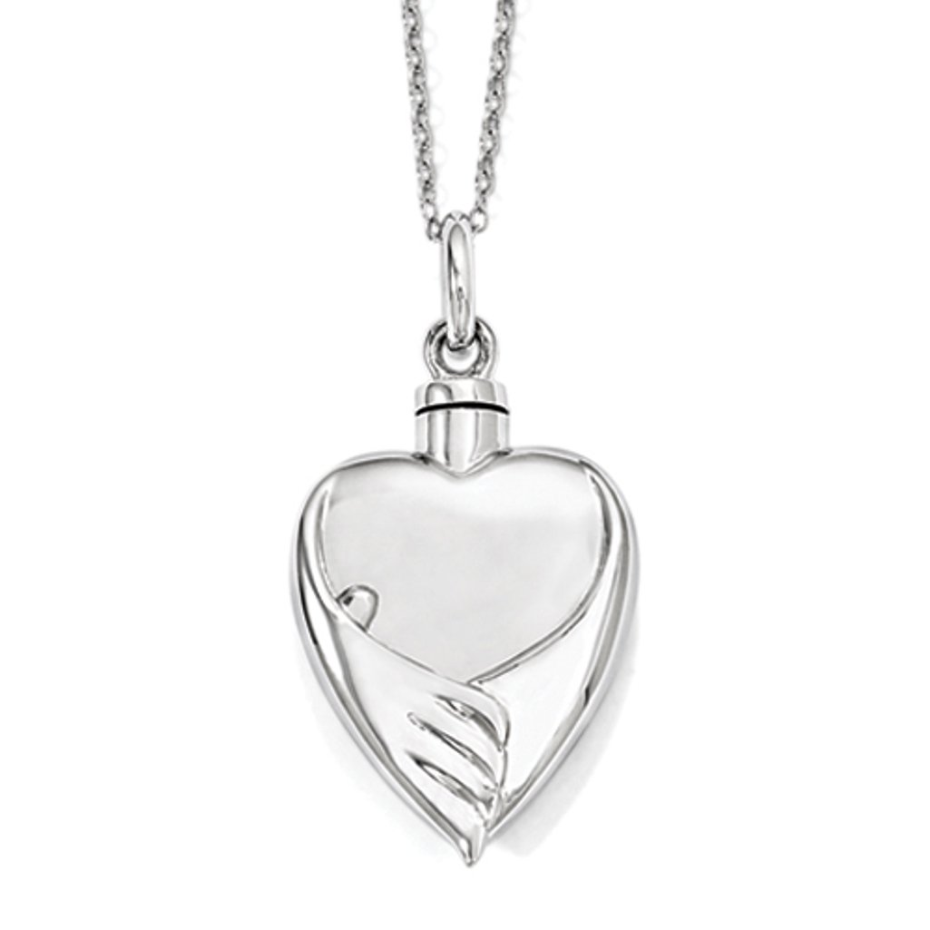 Heart Shaped Forever My Baby Angel Wings Cremation Urn Ash Holder Necklace Sterling Silver With Chain