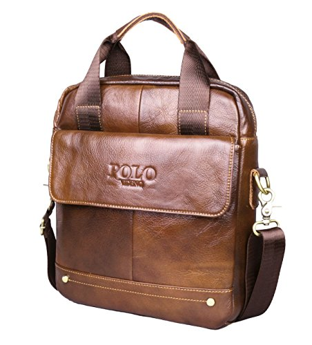 VIDENG POLO Hotest Men's Top Genuine Leather Handmade Briefcase Shoulder Messenger Business Bag From Italy Design (VP-Wild Brown)