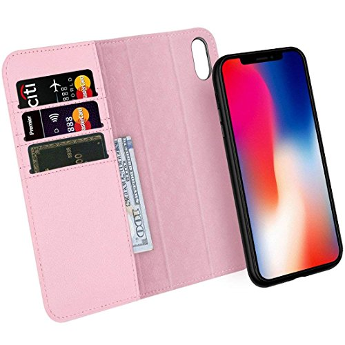 Zover Compatible with iPhone Xs/X Case Detachable Genuine Leather Wallet Case Support Wireless Charging Magnetic Car Mount Holder Kickstand Feature Magnetic Closure Gift Box Pink