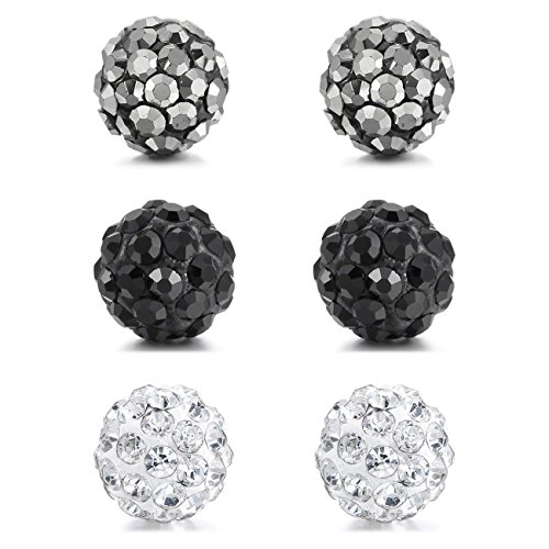MOWOM Multicolor 8mm 3 Pairs Stainless Steel Stud Earrings Ball Set