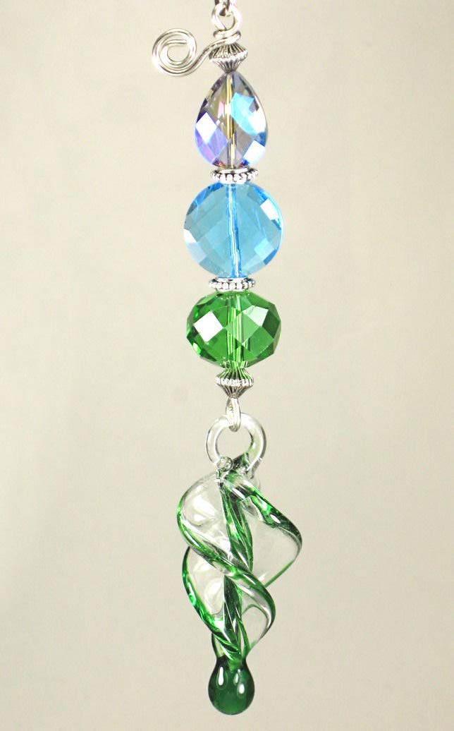 Large Green Spiral Twist Lampwork Glass Blue Ceiling Fan Pull Chain/Light Pull