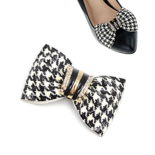 Pump Houndstooth Heel High (Houndstooth Removable Shoe Clips Rhinestone Leather Bridal Shoes Decoration 1 Pc)