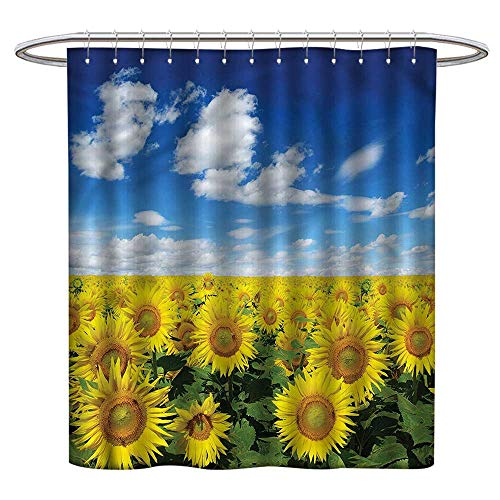 - Qenuanmpo Modern Luxurious Shower Curtain Sunflower,Fresh Field Country,Metal Rust Proof Grommets Bathroom Curtain 54