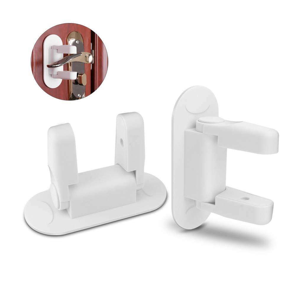 Baby Safety Lock 2pcs, Door Lever Lock Anti-Open Handle Security Lock Child Proof Doors Handles 3M Adhesive BROTOU