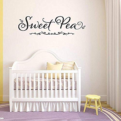 Art Quote Saying Home Sweet Pea Center Embellished Wall Decals Mural Decor Vinyl Sticker ()