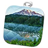 3dRose Danita Delimont - Mountains - Mt.Rainier, reflection, Mirror Lake, Mt.Rainier NP, Washington, USA - 8x8 Potholder (phl_279747_1)
