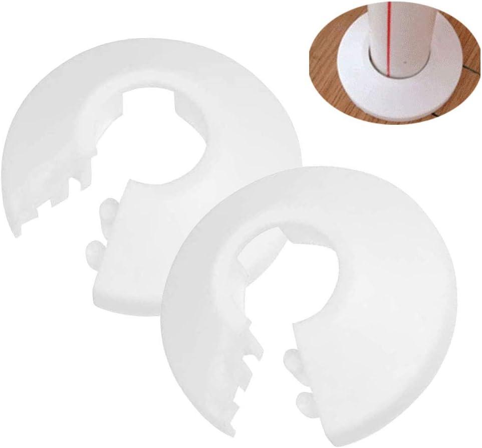 Nsiwem 20 piezas tubo cubierta accesorios Cubierta Radiador de Tubo Rosetones para tubos de calefacción embellecedor radiador plástico para tuberías Cubiertas para tubo de diámetro 15 mm(Blancas)