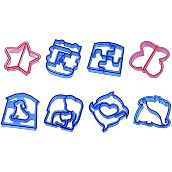 KLEMOO Sandwich and Bread Cutter Food Shapes for Kids, 8 PCS Crust and Cookie Cutters, Make Lunchtime Fun and Encourage Boys & Girls to Eat More