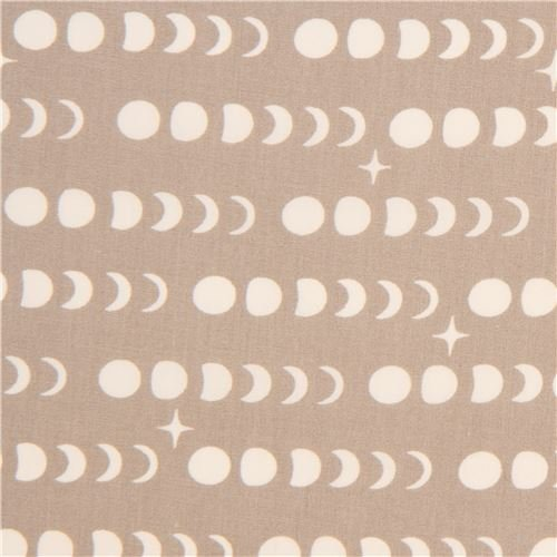 taupe cotton fabric with light cream stars, full moon circles, moon phases (per 0.5 yard ()
