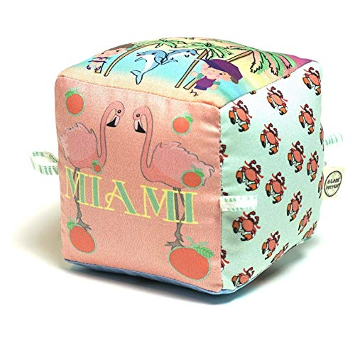 Limited Edition Miami City Block | Organic Toy | Eco Soft Cotton | Best Toy of the Year | Handmade in Brooklyn | Jingle Column | Rattle | Baby Blocks ()