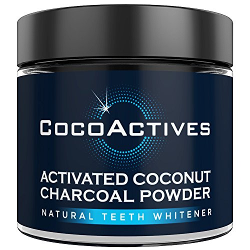 Activated Charcoal Teeth Whitening Powder - by CocoActives - All Natural Tooth Whitener, Organic Coconut Charcoal - Removes Stains, Fluoride Free, Non-GMO, Made in USA - Mint Flavor
