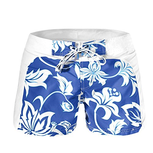 LETSQK Men's Sexy Casual Beach Oahu Short Swimsuits Swim Trunk Blue L