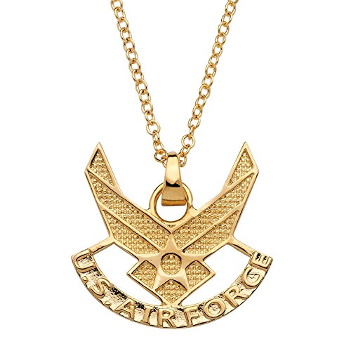 Palm Beach Jewelry 14K Yellow Gold Plated U.S. Airforce Pendant (27mm) with 20 inch Chain ()