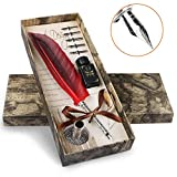 Philonext Feather Quill Pen Set,Calligraphy Pen Set with 5pcs Stainless Steel Nibs Gift Box and Retro Letter Paper Set