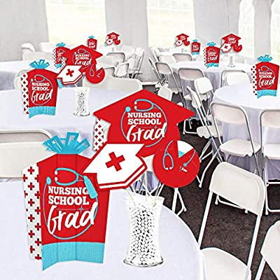 Big Dot of Happiness Nurse Graduation - Table Decorations Kit - Medical Nursing Graduation Party Fold and Flare Centerpieces and Table Toppers Party Virtual Bundle: Toys & Games