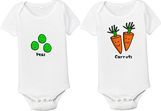 eedbb8b4c Peas and Carrots Set of 2 Matching Twins One-piece Baby Shirts/Bodysuits (