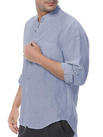 40ccc77a61e Mens Line Button Down Long Sleeve Shirt Casual Work Cotton Plain Tops Beach  Blouses Slim Fit
