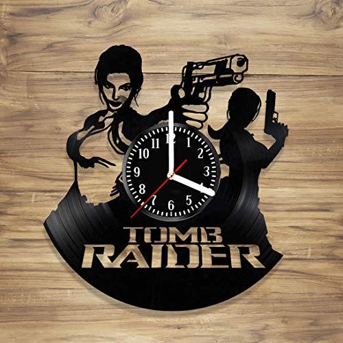 Tomb Raider Vinyl Record Wall Clock Lara Croft Game Movie PC Perfect Art Decorate Home Style Unique Gift idea for Him Her (12 inches)]()