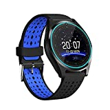 Qiufeng Smart Watch Smartwatch Bluetooth Sweatproof Phone with Camera TF/SIM Card Slot Band Replaceable for Android and iPhone Smartphones for Kids Girls Boys Men Women(Blue,2 Straps)