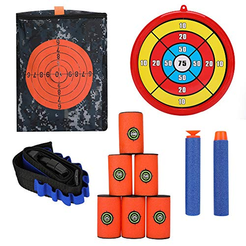 (FTVOGUE Target Shooting Pouch Storage Bag Foam Can Target Belt Clip Soft Foam Bullets Kit for Nerf Gun Tactical Games (Combo 2))