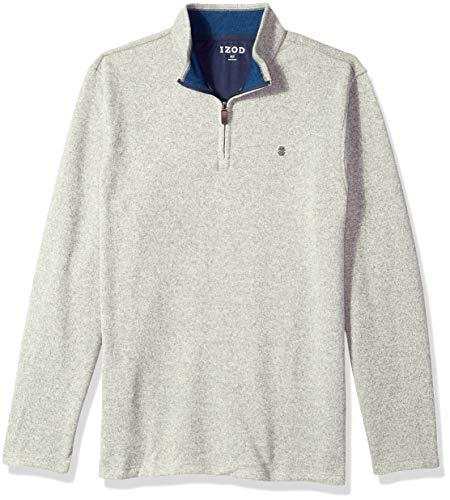 (IZOD Men's Big and Tall Saltwater Solid 1/4 Zip Sweater, Light Grey, 2X-Large Tall)