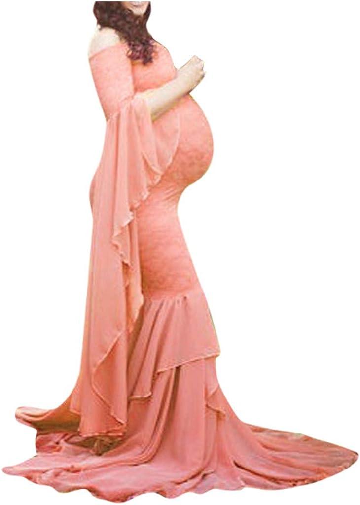 Robe de Grossesse Yesmile Enceintes Maternit/é Photographie Loose Robe Longue Maxi Robe /épaule Dentelle Maternit/é Maman Grossesse Robe pour Plage Wedding Cocktails Soir/ée