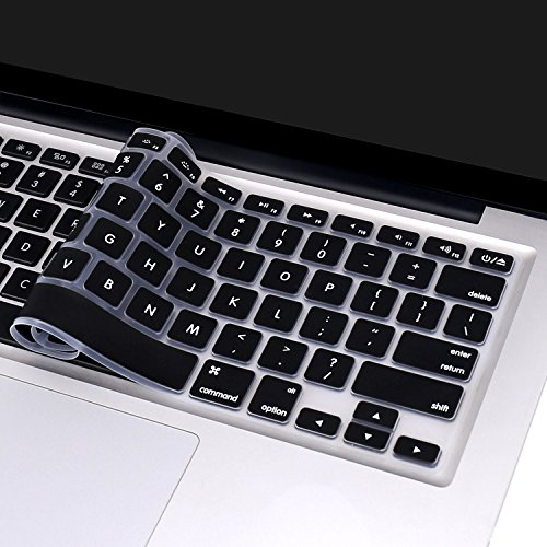 MacBook Air Keyboard Cover Skin for MacBook Pro 13'' 15'' (with or without Retina Display / 2015 or Older Version) and MacBook Air 13''-Black by ANTOGOO